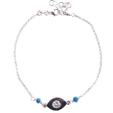 MB61303-Ασημένιο βραχιόλι με ματάκι και χρωματιστές πέτρες