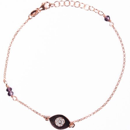 MB61501-Ασημένιο βραχιόλι με ματάκι και χρωματιστές πέτρες